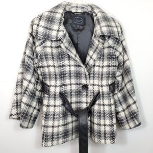 1 Madison Luxe checked houndstooth wool pea coat
